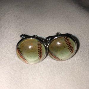 Baseball ball silver toned metal cufflinks